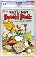 "Golden Age (1938-1955):Funny Animal, Four Color #408 Donald Duck and the Golden Helmet - Davis Crippen(""D"" Copy) pedigree (Dell, 1952) CGC VF 8.0 Off-white to whi..."