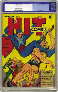 Hit Comics #2 (Quality, 1940) CGC VF+ 8.5 Cream to off-white pages. Like the first issue, #2 shines with the cover artis...