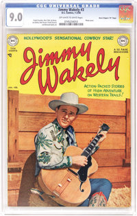 """Jimmy Wakely #3 Davis Crippen (""""D"""" Copy) pedigree (DC, 1950) CGC VF/NM 9.0 Off-white to white pages. Books wit..."""