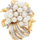 Estate Jewelry:Brooches - Pins, Diamond, Freshwater Cultured Pearl, Gold Brooch. ...