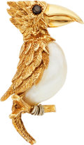 Estate Jewelry:Brooches - Pins, Shell, Sapphire, Gold Brooch, Ruser. ...