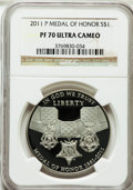 Modern Issues, 2011-P $1 Medal of Honor PR70 Ultra Cameo NGC. NGC Census: (236).PCGS Population (138). Numismedia Wsl. Price for problem...