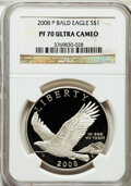 Modern Issues, 2008-P $1 Bald Eagle PR70 Ultra Cameo NGC. NGC Census: (3822). PCGSPopulation (304). Numismedia Wsl. Price for problem fr...