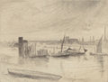 Fine Art - Work on Paper:Print, JAMES ABBOTT MCNEILL WHISTLER (American, 1834-1903). EarlyMorning, Battersea (Kennedy 75), circa 1859. Etching. 4-1/2x...