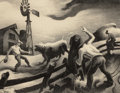 Prints, THOMAS HART BENTON (American, 1889-1975). Photographing the Bull, 1950. Lithograph. 16-1/2 x 20-1/2 inches (41.9 x 52.1 ...