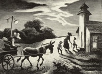 THOMAS HART BENTON (American, 1889-1975) Prayer Meeting (Wednesday Evening), 1949 Lithograph 9 x