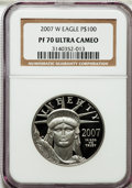 Modern Bullion Coins, 2007-W $100 One-Ounce Platinum Eagle PR70 Ultra Cameo NGC. NGCCensus: (469). PCGS Population (183). Numismedia Wsl. Price...