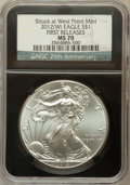 Modern Bullion Coins, 2012(-W) $1 Silver Eagle, Struck at West Point Mint First ReleasesMS70 NGC. 25th Anniversary Holder. NGC Census: (27704). ...