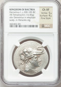Ancients:Greek, Ancients: GRECO-BACTRIAN KINGDOM. Demetrius I (ca. 200-185 BC). AR tetradrachm (34mm, 16.86 gm, 11h)....