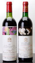 Red Bordeaux, Chateau Mouton Rothschild. Pauillac. 1975 ts, lbsl, lnl, tcBottle (1). 1986 bn Bottle (1). ... (Total: 2 Btls. )