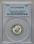 Mercury Dimes: , 1936 10C MS65 Full Bands PCGS. Ex: Teich Family Collection. PCGSPopulation (726/904). NGC Census: (186/275). Mintage: 87,5...