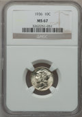 Mercury Dimes: , 1936 10C MS67 NGC. NGC Census: (132/1). PCGS Population (136/3).Mintage: 87,504,128. Numismedia Wsl. Price for problem fre...