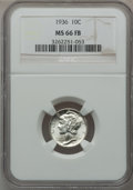 Mercury Dimes: , 1936 10C MS66 Full Bands NGC. NGC Census: (200/75). PCGS Population(711/193). Mintage: 87,504,128. Numismedia Wsl. Price f...
