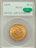 Liberty Eagles: , 1899 $10 MS60 PCGS. CAC. PCGS Population (691/9378). NGC Census:(575/18740). Mintage: 1,262,305. Numismedia Wsl. Price for...