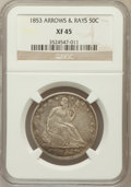 Seated Half Dollars: , 1853 50C Arrows and Rays XF45 NGC. NGC Census: (116/779). PCGSPopulation (165/704). Mintage: 3,532,708. Numismedia Wsl. Pr...