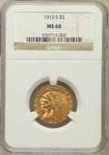 Indian Half Eagles: , 1913-S $5 MS60 NGC. NGC Census: (38/341). PCGS Population (4/299).Mintage: 408,000. Numismedia Wsl. Price for problem free...