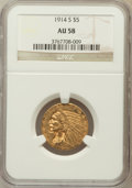 Indian Half Eagles: , 1914-S $5 AU58 NGC. NGC Census: (538/505). PCGS Population(227/456). Mintage: 263,000. Numismedia Wsl. Price for problem f...