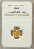 Commemorative Gold: , 1905 G$1 Lewis and Clark MS62 NGC. NGC Census: (221/883). PCGSPopulation (273/1473). Mintage: 10,000. Numismedia Wsl. Pric...