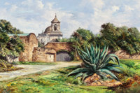 JOSÉ VIVES-ATSARA (Spanish/American, 1919-2004) Mission San Jose, San Antonio, Texas Oil on canvas