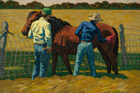 HOWARD POST (American, b. 1948) The Bay Mare Oil on canvas 35-1/2 x 53 inches (90.2 x 134.6 cm)<