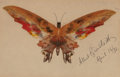 American, ALBERT BIERSTADT (American, 1830-1902). Butterfly, 1896. Oiland ink on paper. 5-1/4 x 8 inches (13.3 x 20.3 cm) (paper)...