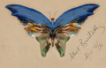 American, ALBERT BIERSTADT (American, 1830-1902). Blue Butterfly,1896. Oil and ink on paper. 5 x 8-1/4 inches (12.7 x 21.0 cm) (p...