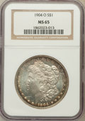 Morgan Dollars: , 1904-O $1 MS65 NGC. NGC Census: (15744/1473). PCGS Population(10505/849). Mintage: 3,720,000. Numismedia Wsl. Price for pr...
