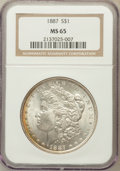 Morgan Dollars: , 1887 $1 MS65 NGC. NGC Census: (25338/3973). PCGS Population(14791/1477). Mintage: 20,290,710. Numismedia Wsl. Price for pr...