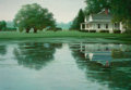 Paintings, ZHEN-HUAN LU (Chinese, b. 1950). House by the Pond, 1996. Oil on canvas. 36 x 52 inches (91.4 x 132.1 cm). Signed lower ...