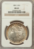 Morgan Dollars: , 1881-S $1 MS65 NGC. NGC Census: (49876/20211). PCGS Population(47808/13892). Mintage: 12,760,000. Numismedia Wsl. Price fo...
