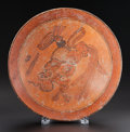 Pre-Columbian:Ceramics, A MAYA PLATE PAINTED WITH BEARDED HEAD. c. 600 - 800 AD...