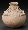 Pre-Columbian:Ceramics, A COLOMBIAN JAR WITH FEMALE ATTRIBUTES. 900 - 1100 AD...
