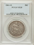 Seated Half Dollars: , 1861-O 50C VF35 PCGS. PCGS Population (13/259). NGC Census:(7/227). Mintage: 2,532,633. Numismedia Wsl. Price for problem ...
