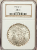 Morgan Dollars: , 1902-O $1 MS65 NGC. NGC Census: (6335/555). PCGS Population(4101/506). Mintage: 8,636,000. Numismedia Wsl. Price for probl...