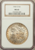 Morgan Dollars: , 1900-O $1 MS65 NGC. NGC Census: (6545/1037). PCGS Population(5830/933). Mintage: 12,590,000. Numismedia Wsl. Price for pro...