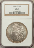 Morgan Dollars, 1904-O $1 MS65 NGC. NGC Census: (15715/1461). PCGS Population(10534/852). Mintage: 3,720,000. Numismedia Wsl. Price for pr...
