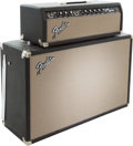 Musical Instruments:Amplifiers, PA, & Effects, 1965 Fender Bandmaster Black Guitar Amplifier Head and Cabinet,Serial # A 09379. ...