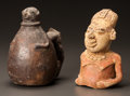 Pre-Columbian:Ceramics, TWO MAYA FRAGMENTARY OBJECTS. c. 600 - 900 AD... (Total: 2 Items)