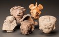 Pre-Columbian:Ceramics, FOUR MAYA AND ONE VERACRUZ HEAD FRAGMENTS. c. 600 - 900 AD...(Total: 5 Items)