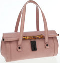 Luxury Accessories:Bags, Gucci Pink Leather Top Handle Bag with Bamboo Detail. ...