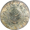 Colonials, 1652 SHILNG Pine Tree MS62 PCGS. CAC. Large Planchets, No Pellets,Noe-10, W-750, Salmon-8-Diii,...