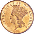 Three Dollar Gold Pieces, 1877 $3 AU53 PCGS....