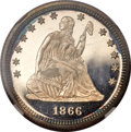 Proof Seated Quarters, 1866 25C Motto PR67 Cameo NGC....