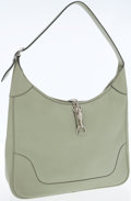 Luxury Accessories:Bags, Hermes 35cm Seafoam Clemence Leather Trim Bag with PalladiumHardware. ...