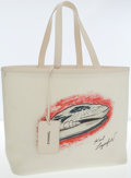 Luxury Accessories:Bags, Chanel White Canvas Karl Lagerfeld Tote Bag. ...
