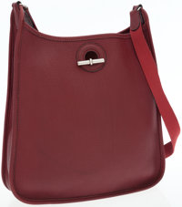 Hermes Rouge H Clemence Leather Vespa Bag PM