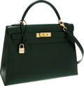 Luxury Accessories:Bags, Hermes 32cm Vert Fonce Calf Box Sellier Kelly Bag with GoldHardware. ...
