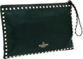 Luxury Accessories:Bags, Valentino Dark Green Leather Oversize Rockstud Wristlet Clutch Bag....