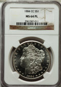 Morgan Dollars: , 1884-CC $1 MS64 Prooflike NGC. NGC Census: (729/329). PCGSPopulation (1251/556). Numismedia Wsl. Price for problem free N...