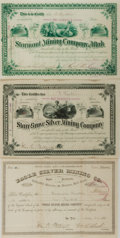 Miscellaneous:Ephemera, Group of Three Mining Stock Certificates... (Total: 3 Items)